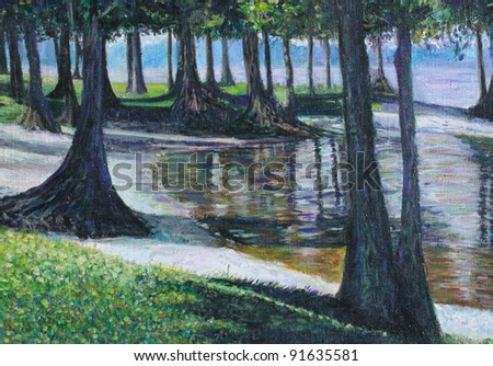 Acrylic abstract landscape with green trees - stock photo