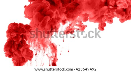 Acrylic colors and ink in water. Abstract background. isolated on white. - stock photo