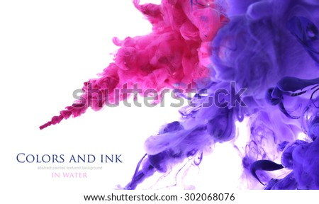 Acrylic colors and ink in water. Abstract unfocused background. - stock photo