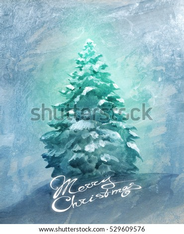 Acrylic illustration of a beautiful shining christmas tree in snow