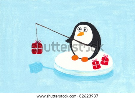 Acrylic illustration of a cute penguin fishing for presents - stock photo