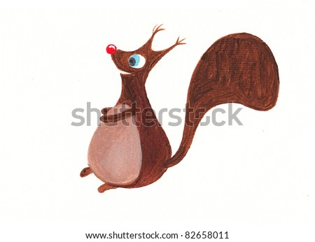Acrylic illustration of a cute squirrel - stock photo