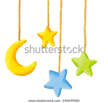 Acrylic illustration of Baby crib hanging mobile toy - Moon and stars - stock photo