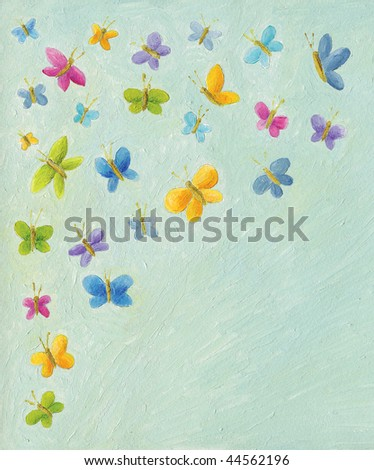 Acrylic illustration of background with colorful butterflies - stock photo
