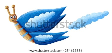 Acrylic illustration of blue butterfly with clouds - stock photo