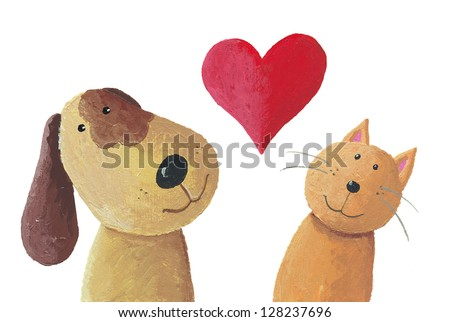 Acrylic illustration of cat and dog in love - stock photo