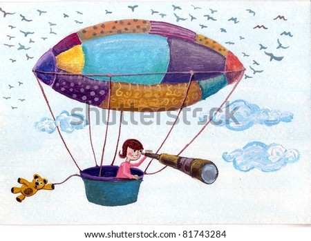 Acrylic Illustration of child flying in the colorful balloon - stock photo