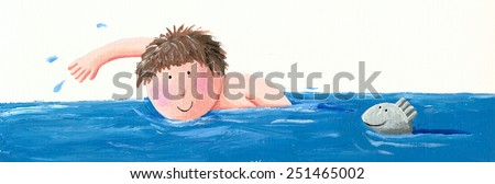 Acrylic illustration of cute boy swimming -  artistic intent  - stock photo