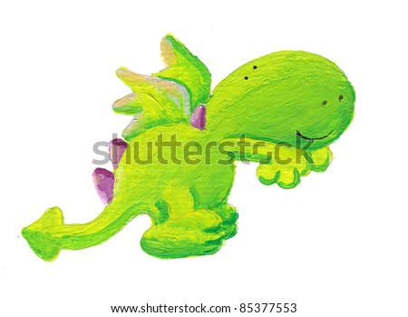 Acrylic illustration of cute clumsy little dragon trying to jump - stock photo