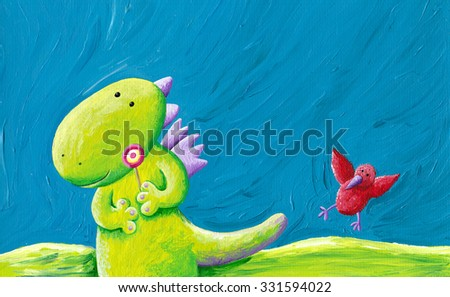 Acrylic illustration of cute dragon eating lollipop  - stock photo