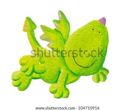 Acrylic illustration of cute dragon flying - stock photo