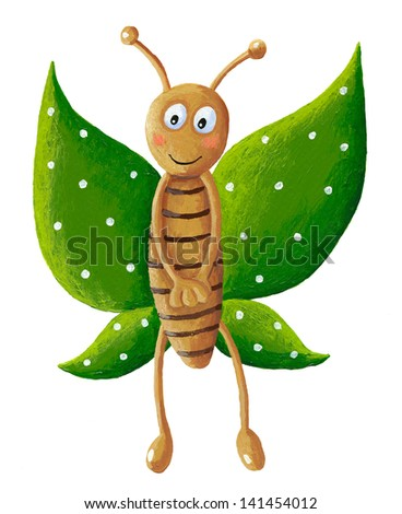 Acrylic  illustration of cute green butterfly - stock photo
