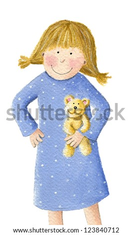 Acrylic illustration of cute little blonde girl with teddy - stock photo