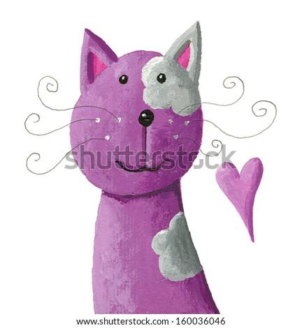 Acrylic illustration of cute purple cat - stock photo