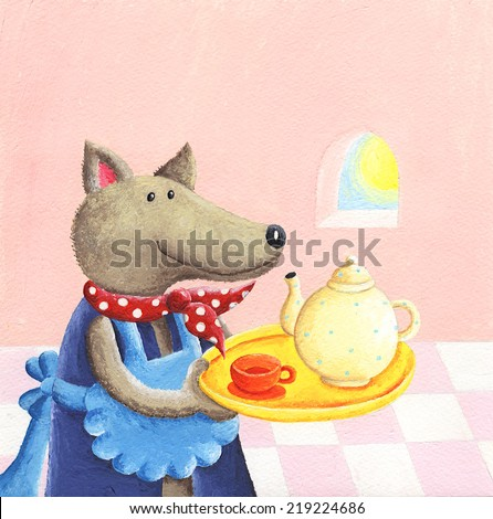 Acrylic illustration of cute wolf serving tea - stock photo
