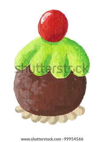 Acrylic illustration of delicious chocolate and cherry cakes - stock photo