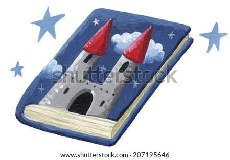 Acrylic illustration of Fairy tale book - stock photo