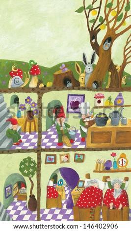 Acrylic illustration of Fairy tales dwarf's underground house - stock photo