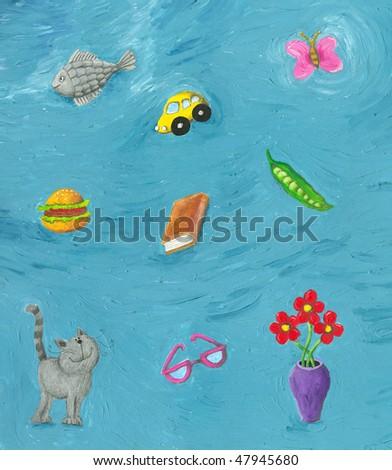 Acrylic illustration of Funny background - stock photo