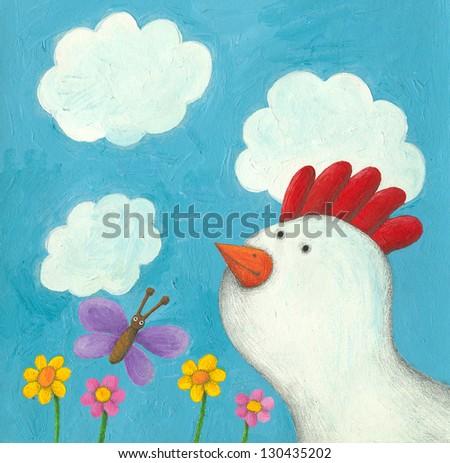 Acrylic illustration of funny hen - stock photo
