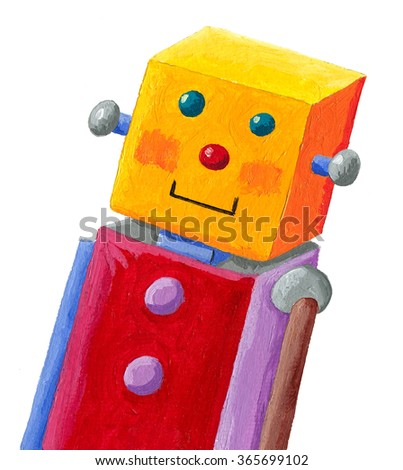 acrylic illustration of funny robot with yellow head - artistic content - hand made - stock photo