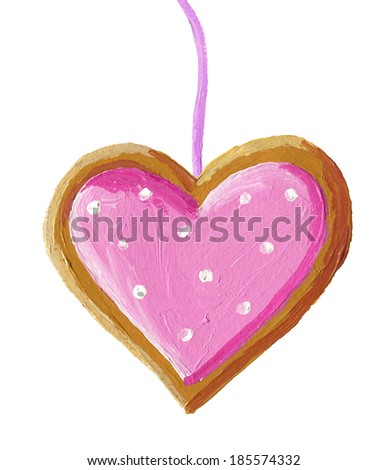 Acrylic illustration of gingerbread christmas heart cookie - stock photo