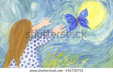 Acrylic illustration of girl chasing butterfly - stock photo