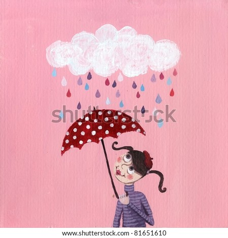 Acrylic Illustration of girl with red umbrella - stock photo