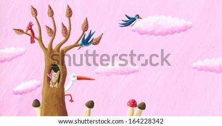 Acrylic illustration of happy autumn - stock photo