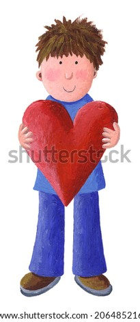 Acrylic illustration of Little Boy Holding a Valentine Heart - stock photo