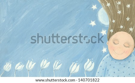 Acrylic illustration of little girl dreaming in the garden - stock photo