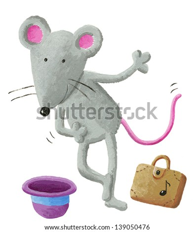 Acrylic illustration of mouse street performer - stock photo