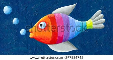 Acrylic illustration of rainbow fish - artistic content - stock photo