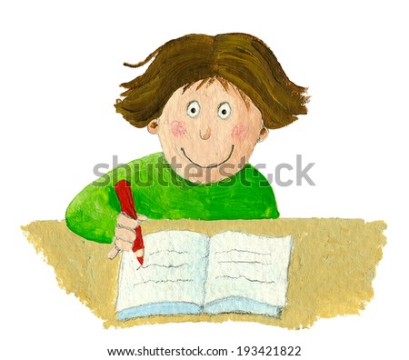 Acrylic illustration of school boy sitting and writing in notebook - stock photo