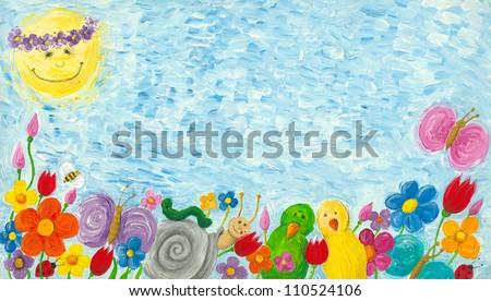 Acrylic illustration of Spring, flowers, birds, bugs, snail and sun - stock photo