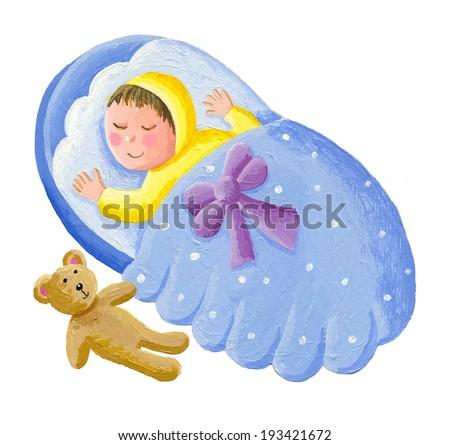 Acrylic illustration of sweet baby sleeping with teddy bear  - stock photo