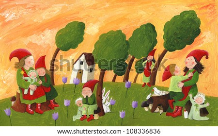 Acrylic illustration of the Dwarfs - mothers and children - stock photo