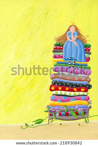 Acrylic illustration of the Princess and the Pea  - stock photo
