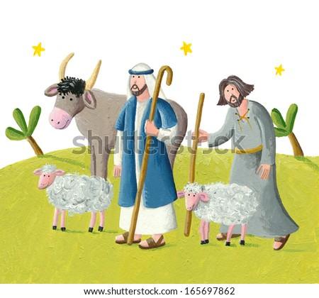 Acrylic illustration of two shepherds - stock photo