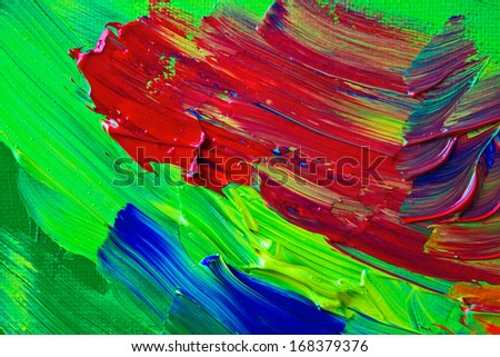 Acrylic paint applied in thick globs making an abstract background. - stock photo
