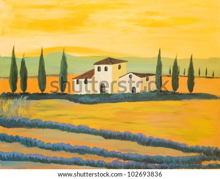 Acrylic Painting of a Tuscan Landscape made by a private Painter - stock photo