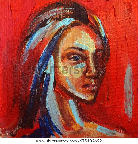picturesque famous living artists today. Acrylic painting portrait of beautiful girl in red  blue and yellow colors Painting Portrait Beautiful Girl Red Stock Illustration