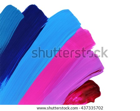 Acrylic strokes,colorful,blue and pink colors, design element,hand painted - stock photo
