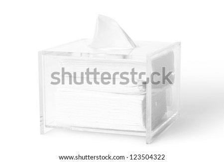 acrylic tissue box on white background with clipping paths. - stock photo