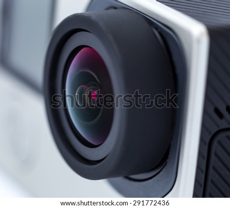 Action camera lens. Close up photo - stock photo