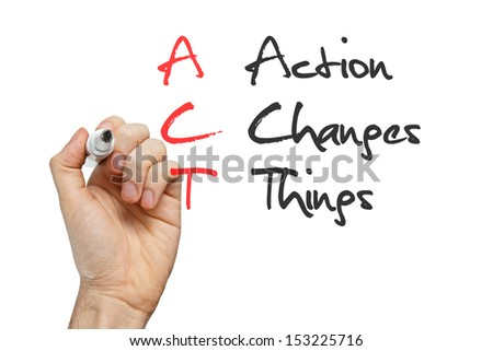 Action Changes Things written by hand on whiteboard - stock photo