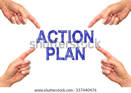 Action Plan - female hands with blue text on white background - stock photo