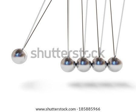 Action sequrence concept background - Newton's cradle executive toy isolated on white background - stock photo