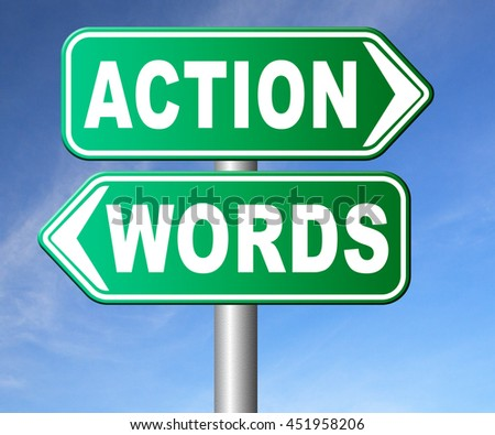 action words the time to act is now or never mister big mouth last stop showing off 3D illustration, isolated, on white   - stock photo