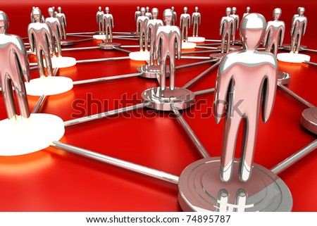 Activated nodes in a social network. 3D rendered Illustration. - stock photo